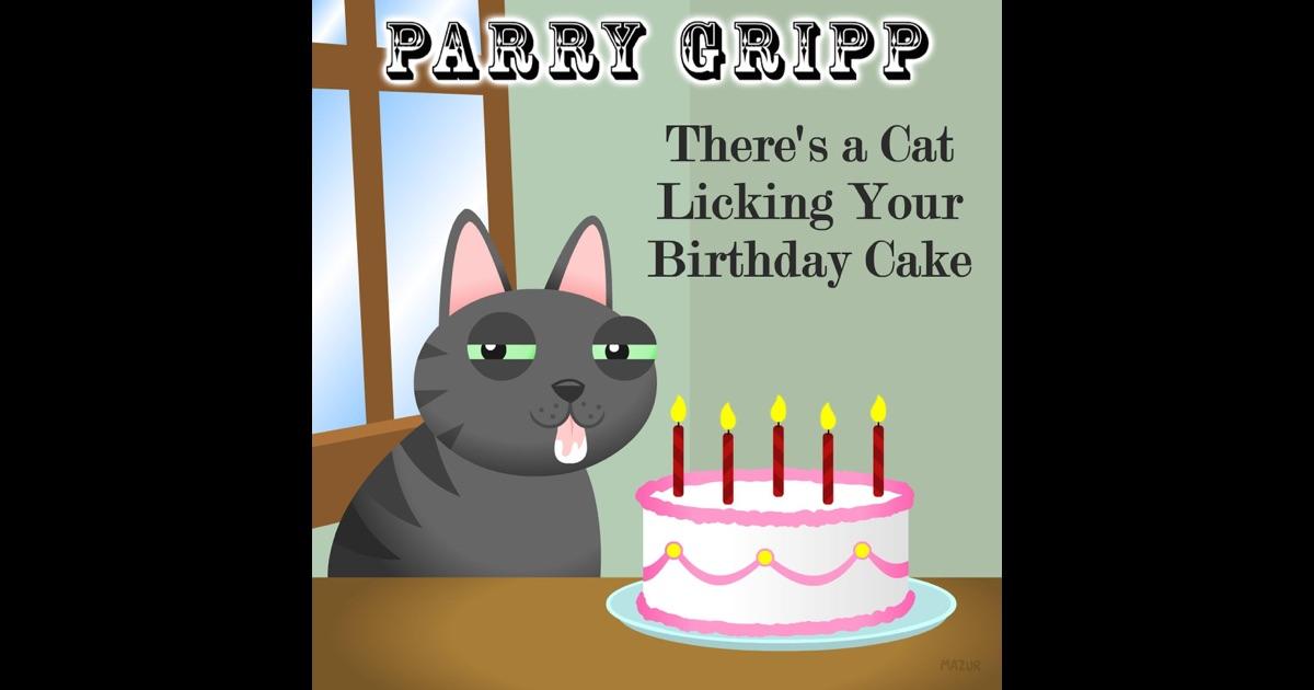 Cat Licking Birthday Cake Song