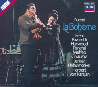 Puccini: La Bohème (2 CDs) – Berlin Philharmonic, Elizabeth Harwood, Herbert von Karajan, Luciano Pavarotti, Mirella Freni & Nicolai Ghiaurov