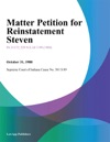 Matter Petition For Reinstatement Steven