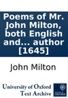 Poems Of Mr John Milton Both English AndLatin And A Maske Of The Same Author 1645