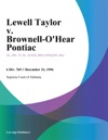 Lewell Taylor V Brownell-OHear Pontiac