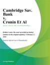Cambridge Sav Bank V Cronin Et Al
