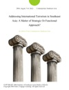 Addressing International Terrorism In Southeast Asia A Matter Of Strategic Or Functional Approach