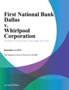 First National Bank Dallas V Whirlpool Corporation