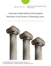 Analyzing Creditworhtiness From Financial Statements In The Presence Of Operating Leases
