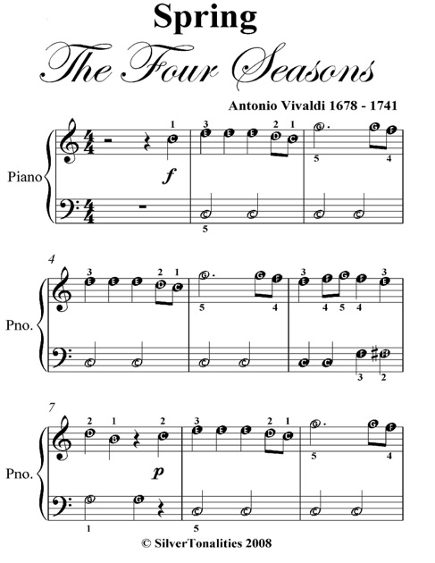 Spring Four Seasons Easiest Piano Sheet Music by Antonio ...