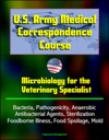 US Army Medical Correspondence Course Microbiology For The Veterinary Specialist - Bacteria Pathogenicity Anaerobic Antibacterial Agents Sterilization Foodborne Illness Food Spoilage Mold