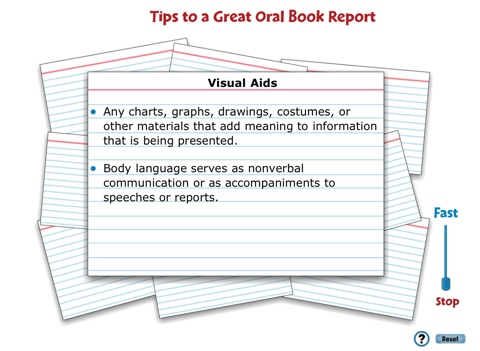 oral book report tips The booktalker presents the booktalks orally and usually has the book as a visual prop for tips on how to present a booktalk, see booktalking tips how do booktalks differ from book reviews why was booktalks -- quick and simple begun.