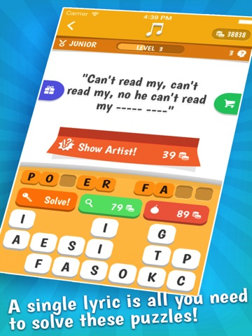 Screenshots of Song Quiz – The Free Lyric Guessing Game for iPad