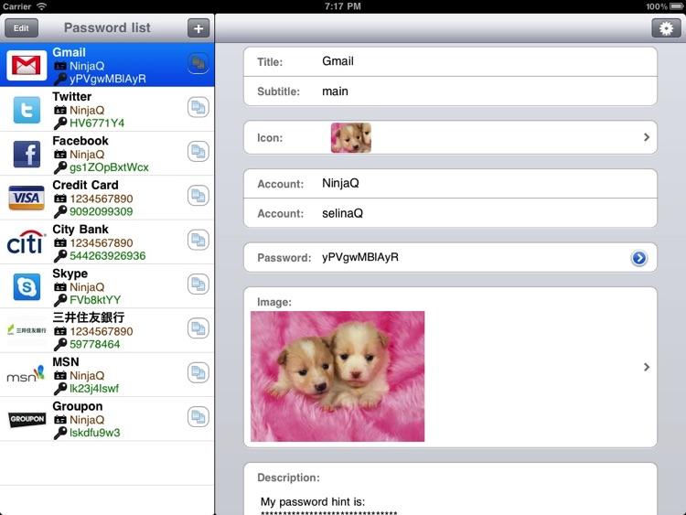 My Password List HD by xiaohui qi