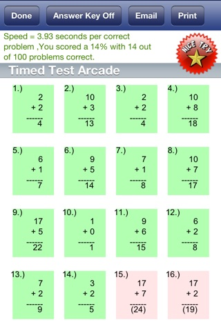 Timed Test Free for iPhone screenshot 1