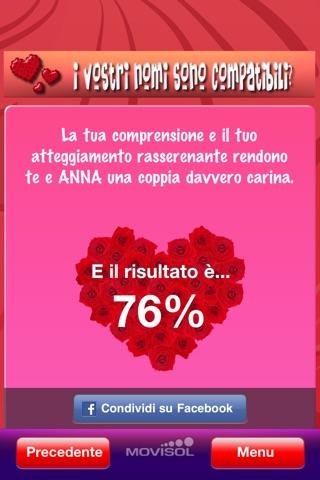 Screenshot of I vostri nomi sono compatibili?: calcolatrice di affinità in amore4