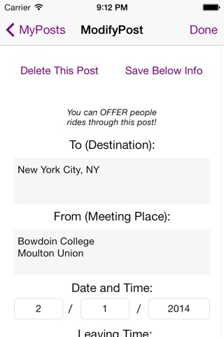 Bowdoin College RideShare screenshot 4