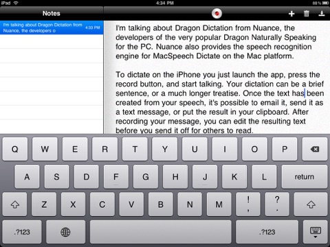 Screenshot of Dragon Dictation
