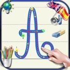 Aprenda a escrever letras cursivas do alfabeto em maiúsculas e minúsculas com os sons em Inglês e Es icon