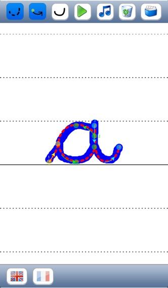 Учитесь писать скорописью буквы алфавита в верхнем и нижнем регистре со звуков в английском и французском языках - основы для детейСкриншоты 2
