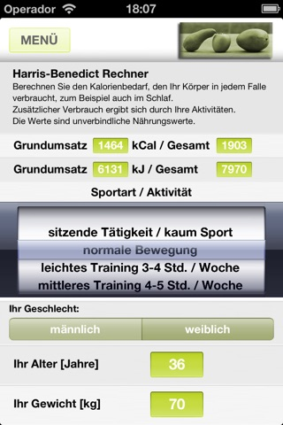 Fit-Rechner screenshot 2