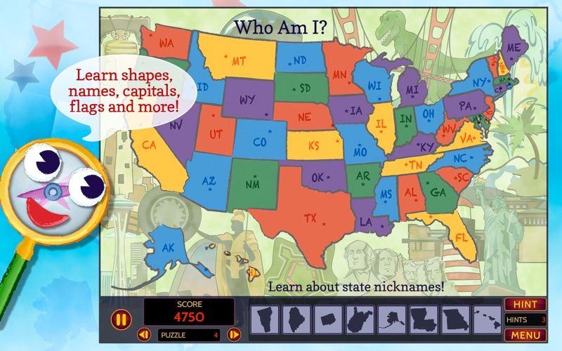 GeoSeeker USA MapReading And Geography With A Hidden Object - Usa map with state names and capitals