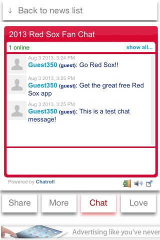 Boston Baseball 2013 Free - News, Chat, & Scores screenshot 4