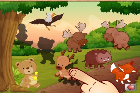 Big Forest Puzzle - free game for toddlers and kids with animals like snakes, bears, frogs ducks, rabbits,  bats, foxes or deers screenshot 4