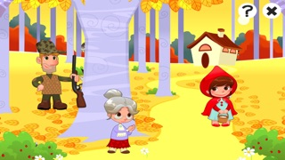 儿童游戏有关小红帽:游戏和拼图的幼儿园,学前班或幼儿园。 学习 与女孩,红色的斗篷,篮,狼,外婆,猎人在森林里!屏幕截图3