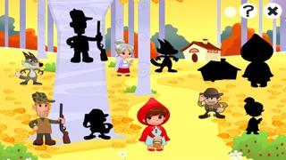 儿童游戏有关小红帽:游戏和拼图的幼儿园,学前班或幼儿园。 学习 与女孩,红色的斗篷,篮,狼,外婆,猎人在森林里!屏幕截图2