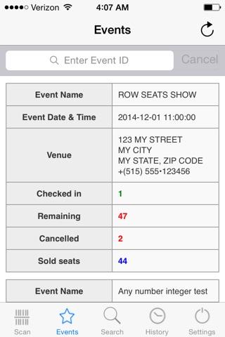 Screenshot of Row Seats