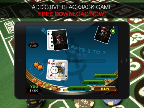 Aarghh! PIRATE BlackJack KING - Play the Atlantic City and Online Casino Card Game with Real Las Vegas Odds for Free !-ipad-0