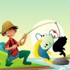 活動! 影遊戲為孩子們學習和釣魚和打的魚