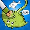 活躍! 圖畫書 魚兒童學習如何將 漆