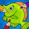 Aktiv! Målarbok för Barn Om Sjöliv: Lära Sig Att Rita Med Fisk, Sköldpadda, Krabba, Hav, Korall