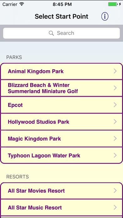 OLP WDW Transportation Wizard Screenshot on iOS