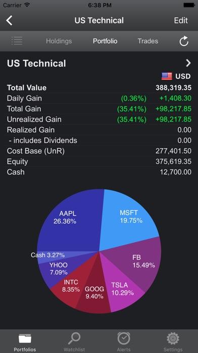 portfolio trader stock tracker app report on mobile action