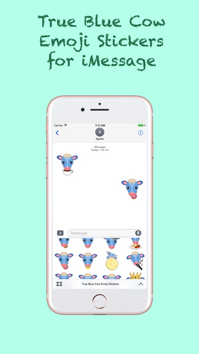 True Blue Cow Emoji Stickersのスクリーンショット2