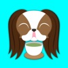 Brown White Japanese Chin Stickers for iMessage
