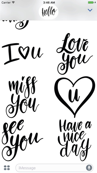 Hello Calligraphy! Stickers for iMessageСкриншоты 5