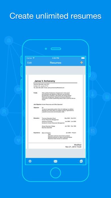 iphone screenshot 1 - Quick Resume Builder