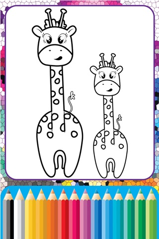 Giraffe Coloring Cute Wild Animals fun doodling screenshot 2