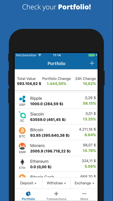 Coin Portfolio — курсы криптовалют