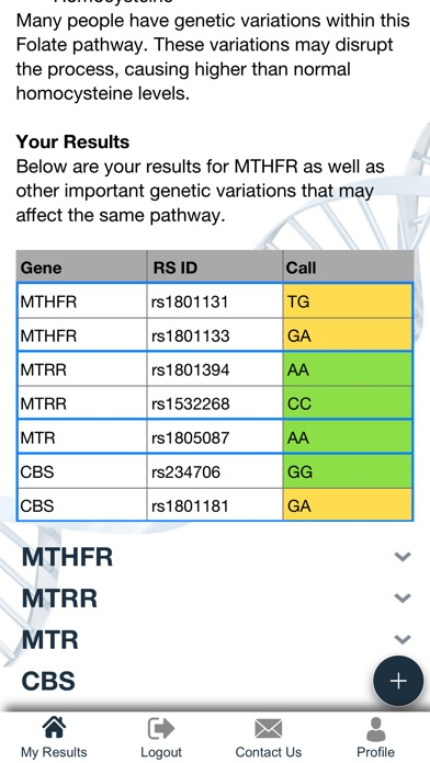 My Genetic Health Screenshots