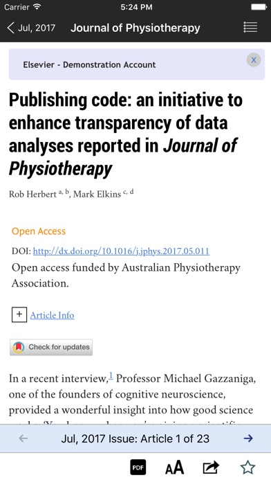 Screenshot #7 for Journal of Physiotherapy