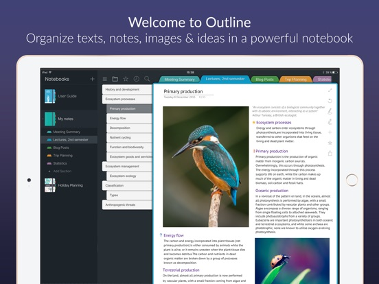 Outline -your digital notebook Screenshots
