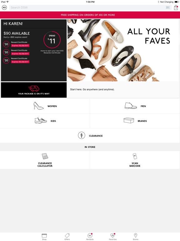 Screenshots of DSW Designer Shoe Warehouse for iPad