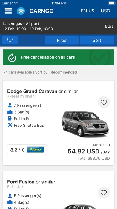 Screenshot of CARNGO.com - Car Rental APP3