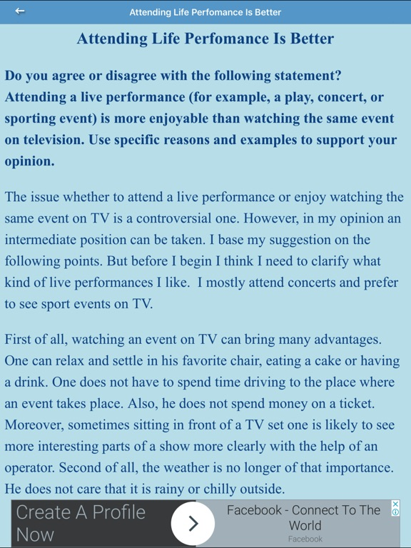 attending a live performance is more enjoyable than watching on television