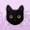 Bee Lea Teo - Black Cat in the City Stickers artwork