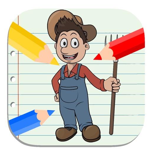 Kids Coloring Book Farmers Education iOS App