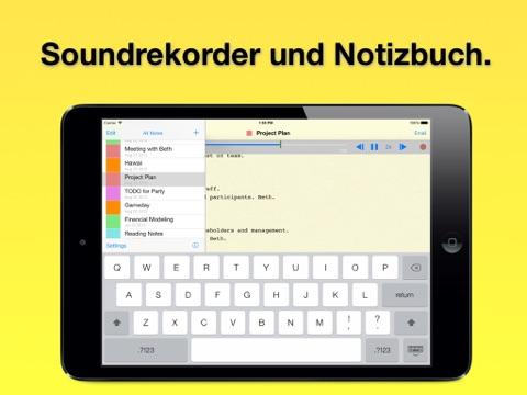 Audio Notizbuch: Audiorecorder, Texteditor Screenshot
