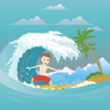 eduardo forero - A Surfer Man In The Ocean  artwork
