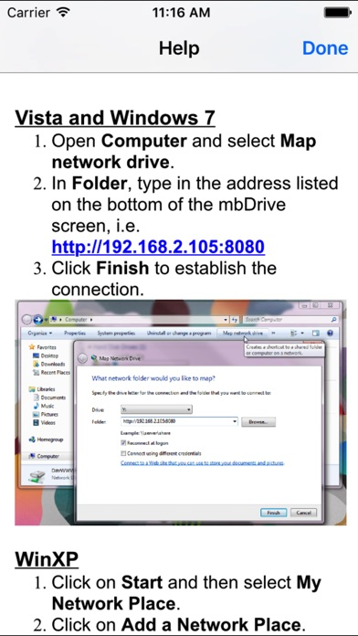 Screenshots of mbDrive Free for iPhone